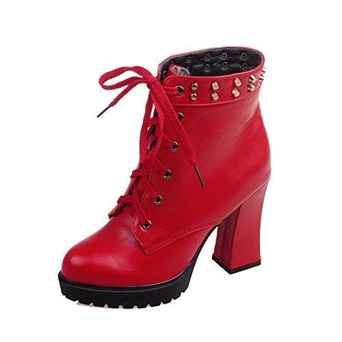 AllhqFashion Damen Schnüren Weiches Material Hoher Absatz Rund Zehe Stiefel mit Rivet Set Rot