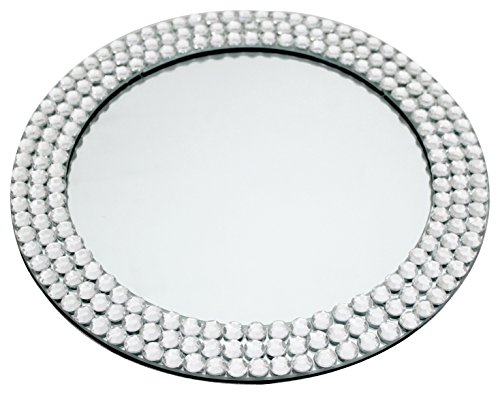 Round Glass Serving Tray for Sabbath and Holidays Bordered with Rows of Large Crystal Stones 12