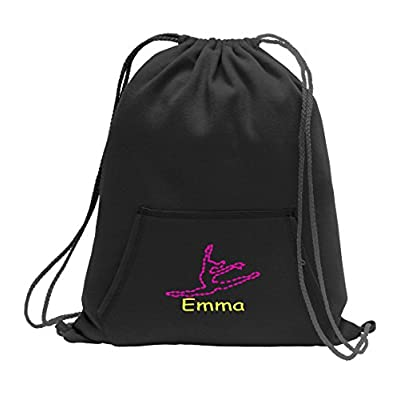 Dance Personalized - Sweatshirt Cinch Bag with Kangaroo Pocket (Jet Black) free shipping