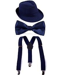 Boys Adjustable Suspenders With Pre-Tied Bow Tie and Short Brim Fedora Hat