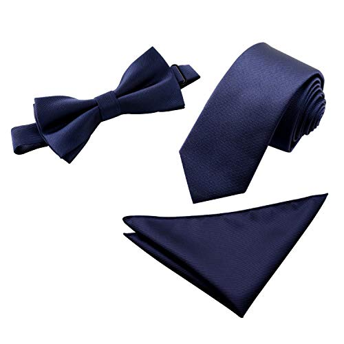 Men's Embroidered Bow Tie& Necktie& Pocket Square Set, Solid -