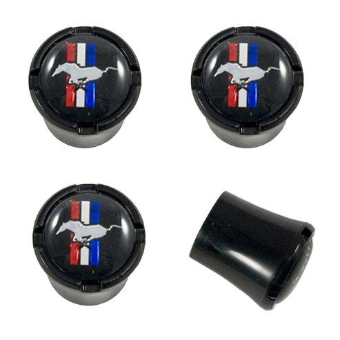 Mustang Black Stem Caps with Running Horse & Tri Bar Logos 4pc (Wheel Caps Pony)