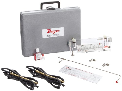 Dwyer Durablock Air Velocity Gauge Kit, 0.05-0-0.25'WC, 400-2000 FPM Velocity, 6' Scale, Model 166-12 (12') Pitot Tube