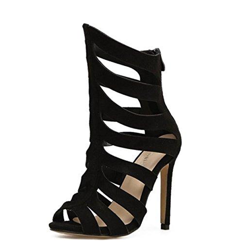 LINYI Damenschuhe Stiletto Heels 2018 Sommer Schwarz Striped Open-Toe Sandalen Black
