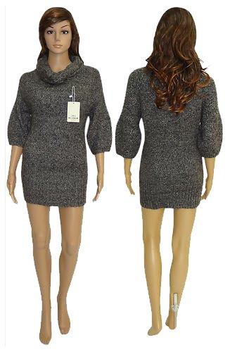 Señoras de las mujeres de puente 3/4 vestido de cuello de la capucha del polo del puente del tamaño 8 10 12 14 16 NEGRO
