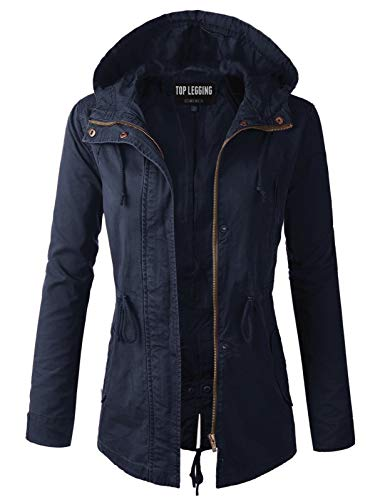 TOP LEGGING TL Women's Versatile Militray Anorak Parka Hoodie Jackets with Drawstring Y65543 Navy XL