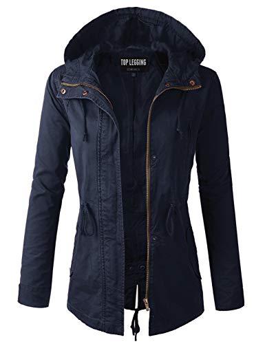 TOP LEGGING TL Women's Versatile Militray Anorak Parka Hoodie Jackets with Drawstring Y65543 Navy - Drawstring Parka