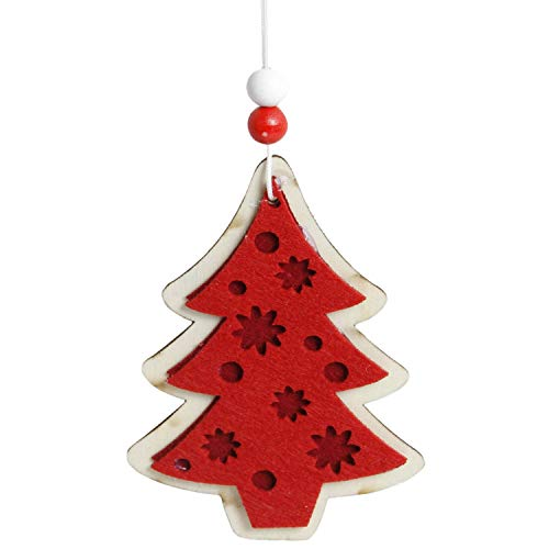 Noon-Sunshine decorative-plaques 1Pc Cute Christmas Tree Snowflake Star Bell Ornaments Woodens Xmas Party Home Christmas Decor Navidad,I]()