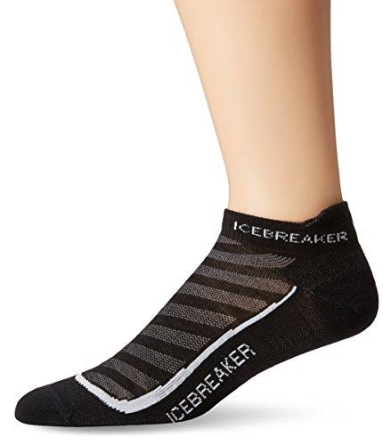 Icebreaker Women's Run+ Ultra Light Micro Socks, Medium, Black/Pearl/Black