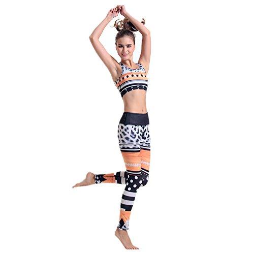 HYHAN Moda de yoga respirable drenaje conjunto de dos piezas de impresión 1
