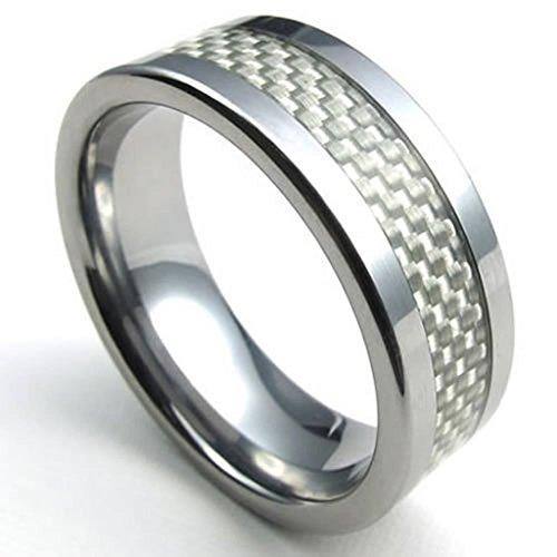 [Bishilin Tungsten Men's Rings White Carbon Fiber Inaly High Polish Carbide Silver Width 8mm Size 12] (His And Her Costumes 2016)