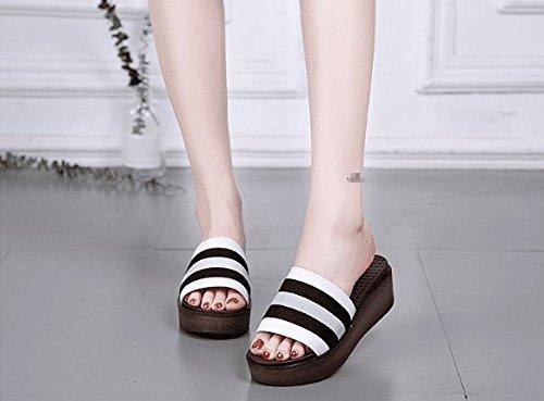 AWXJX Sommersaison Frauen Flip Flops Flops Flops High Heel Wasserdicht Dick mit Kunstleder Weiß 6 US 36 EU 3.5 UK 1dc3d4