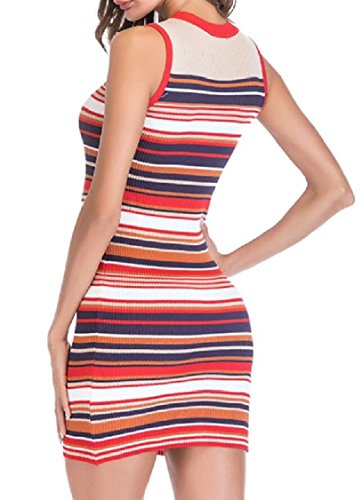 Tank Sleeveless Dress 1 Women's Bodycon Striped Jaycargogo Sexy Dress xPIqYawOp