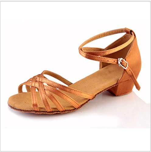 À Pour Femme Des Étudiantes Latine Satin De Danse 26 Taille Color amp; Enfants Tmkoo Chaussures Fond Pratiquer Gold Mou 87RnCwq
