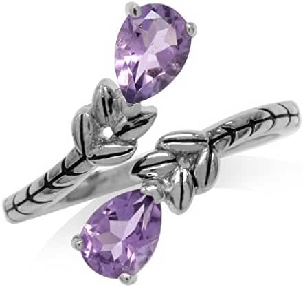 1.34ct Natural Amethyst White Gold Plated 925 Sterling Silver Bypass Leaf Adjustable Ring