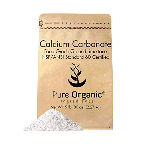 Calcium Carbonate Powder (5 lb.) by Pure Organic Ingredients, Eco-Friendly Packaging, Dietary Supplement, Antacid, Food Preservative, More For Sale
