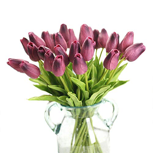 """Packozy 20 pcs PU Real-Touch Artificial Tulip Flowers 13.3"""" for Home Wedding Party Decor,Easy to Clean (Wine Red)"""