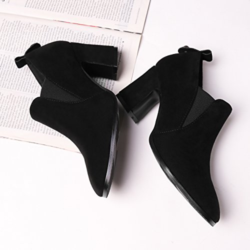 Talon Chelsae Femme Noir Velours Carré Boots Élégants Bottines Cloutés Haut Chaussures Bout 40 Bottes Bloc Mode 4pBBXfxq