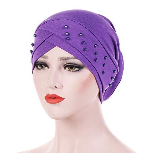 Muranba Clearance Women Beading Muslim Hat Cancer Chemo Beanie Turban Wrap Cap