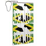 COCB-14 Water Repellent Shower Curtain, 36 X 72 Jamaica Flag with Jamaican Map Shower Curtain with C Rings Hook Hanger