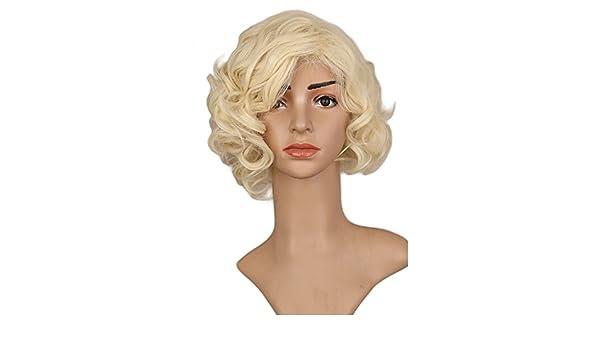 Bzuma - Mujer Niñas Negro Corto culry Cos Peluca de Marilyn Monroe de Vacaciones de Alta Temperatura de la Fibra sintética Pelucas de Pelo: Amazon.es: Hogar