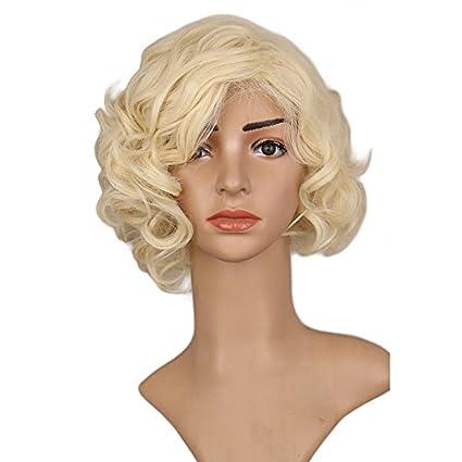 Bzuma - Mujer Niñas Negro Corto culry Cos Peluca de Marilyn Monroe de Vacaciones de Alta