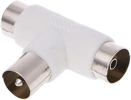 JOYKK Cable coaxial aéreo Splitter Antena TV T de 2 vías 2X Adaptador de Conectores Hembra - Blanco