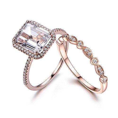Emerald Cut Diamond Ring Settings (White Topaz Bridal Set,8x10mm Emerald Cut,14K Rose Gold,Art Deco Diamond Wedding Band,Wedding Ring Set)