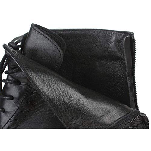 Brock Scarpe Trend Scarpe Scarpe Martin Alte da Pelle Inghilterra Moda in Uomo Stivali Scarpe Black wqPTqZS