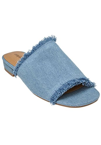 Comfortview Women's Wide Faryl Mules Light Denim,10 (Denim Mules)