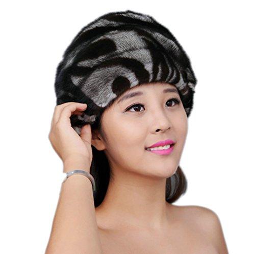 YR Lover Women's Warm Earmuffs Cute Mink Fur Beret Hat Fashion Peaked Cap