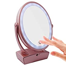 LED double-sided makeup mirror/Large oval table10 magnifying/ drawer boxes with a warning lamp/ gift of beauty-A