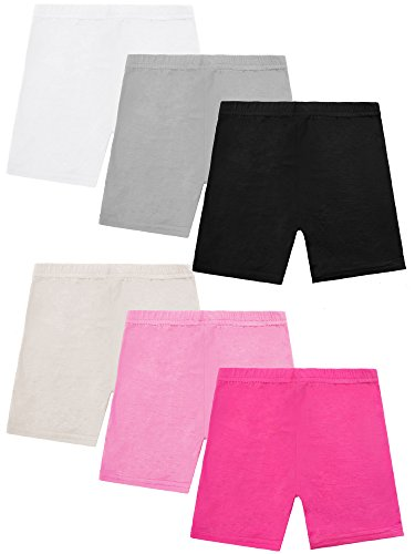 Resinta 6 Pack Dance Shorts Girls Bike Short Breathable and Safety 100% Modal Cotton 6 Color(8-10T)