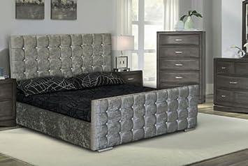 Cubed Upholstered Crushed Velvet Double Kingsize Bed