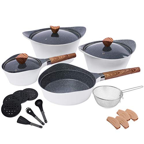 Nonstick Cookware Sets Dishwasher Safe Die Casting Aluminum Induction pots and pans set with Cooking Utensil Pack- 19 Piece - White