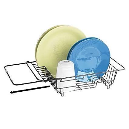 mDesign Rejilla escurreplatos para el fregadero – Escurridor de platos 49b404615017