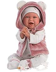 Llorens 1074070 L pop Mimi, met blauwe ogen en zacht lichaam, babypop incl. roze outfit, fopspeenketting en zachte deken met schattige oortjes, 42 cm
