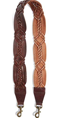 - Patricia Nash Bella Vista Braided Leather Guitar Bag Strap Brown