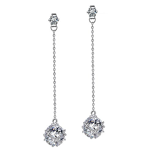 Merdia Long Drop Earrings with Sparkling Glass Charm for Women and Girls