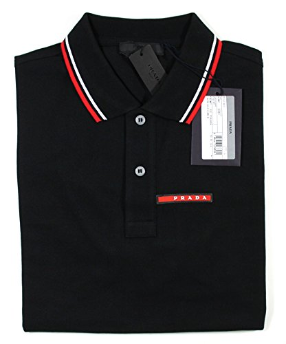 Prada Men's Cotton Piqué Short Sleeve Slim Fit Polo Shirt, Nero SJJ887 - Polo Prada