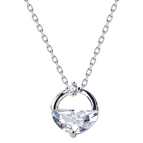 FATRWO Crystal Necklace,925 Sterling Silver Pendant | Simple Clavicle Chain, Hypoallergenic Material with Gift Box