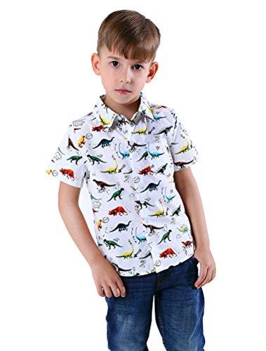 Abolai Boys' Short Sleeve One Pocket Dinosaur Pattern Woven Shirt White 110 ()