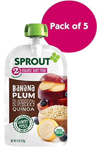 2 Baby Food Pouches, Banana Plum Blueberry Quinoa, 4 Ounce (Pack of 5) ()