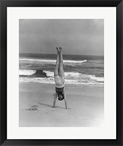 Great Art Now 1930s Woman Doing Handstand by Vintage PI Framed Art Print Wall Picture, Black Frame, 23 x 27 inches