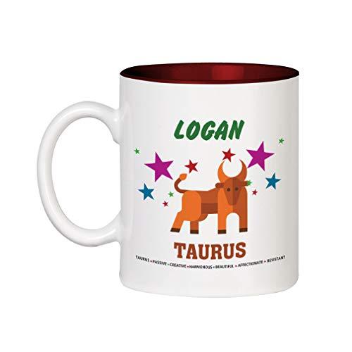 (Personalized Custom Text Taurus. Passive Creative Ceramic Inner Color Cup Coffee Mug -)