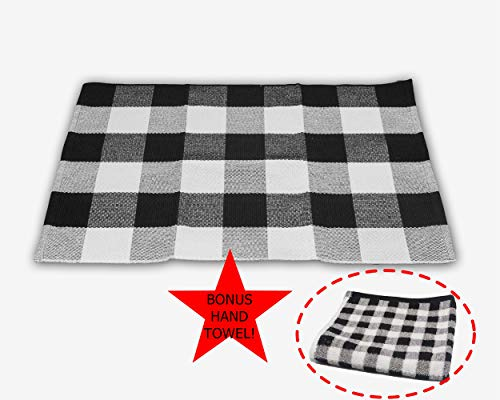 Trezzon Industries Buffalo Check Plaid Rug Black and White. Indoor/Outdoor Checkered Door Mat. Great for The Porch or Kitchen, Washable Hand Woven Checkered Throw Rug. with Bonus Matching Hand ()