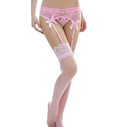 Mallcat Women Lace Thigh-Highs Stockings & Garter Belt Suspender Set (Pink) (Garter Belts Corsets)