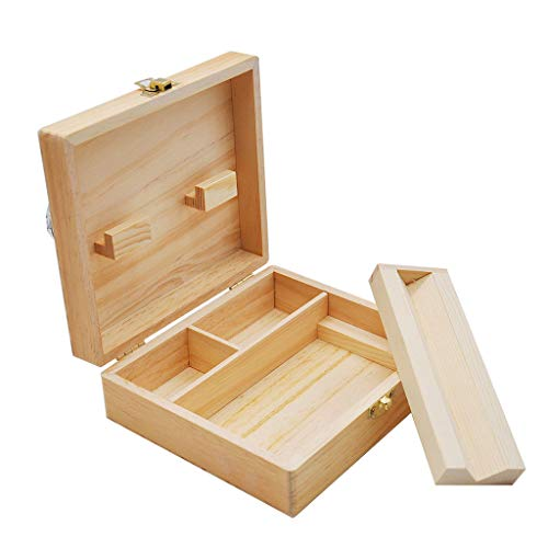 Transser Wood Stash Box with Rolling Tray - Rolling Tray Stash Boxes - Premium Quality Discrete Wooden Vintage Tobacco Box Holder Protective Cover Organizer (A)