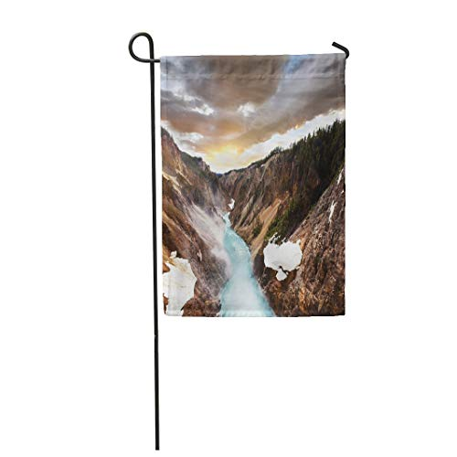 Semtomn Garden Flag 28x40 Inches Print On Two Side Polyester Inspirational Canyon in Yellowstone Landscape Desert Hiking Mountain Park America Home Yard Farm Fade Resistant Outdoor House Decor Flag ()