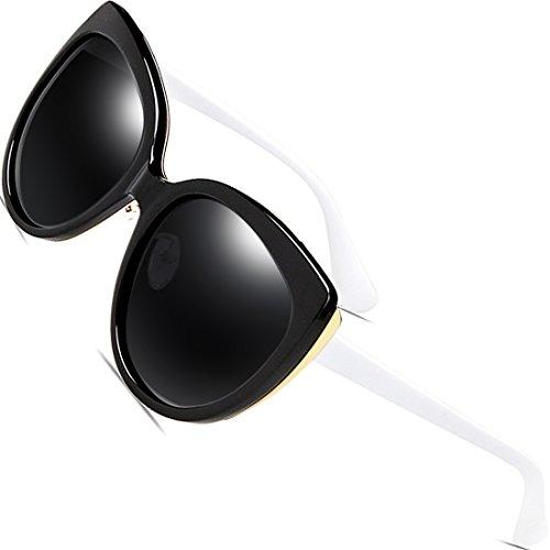 SIPLION Damen Wayfarer Sonnenbrille UV400 Schutz Polarisierte Katze Auge Übergroße 8103 Brown Bt4lf